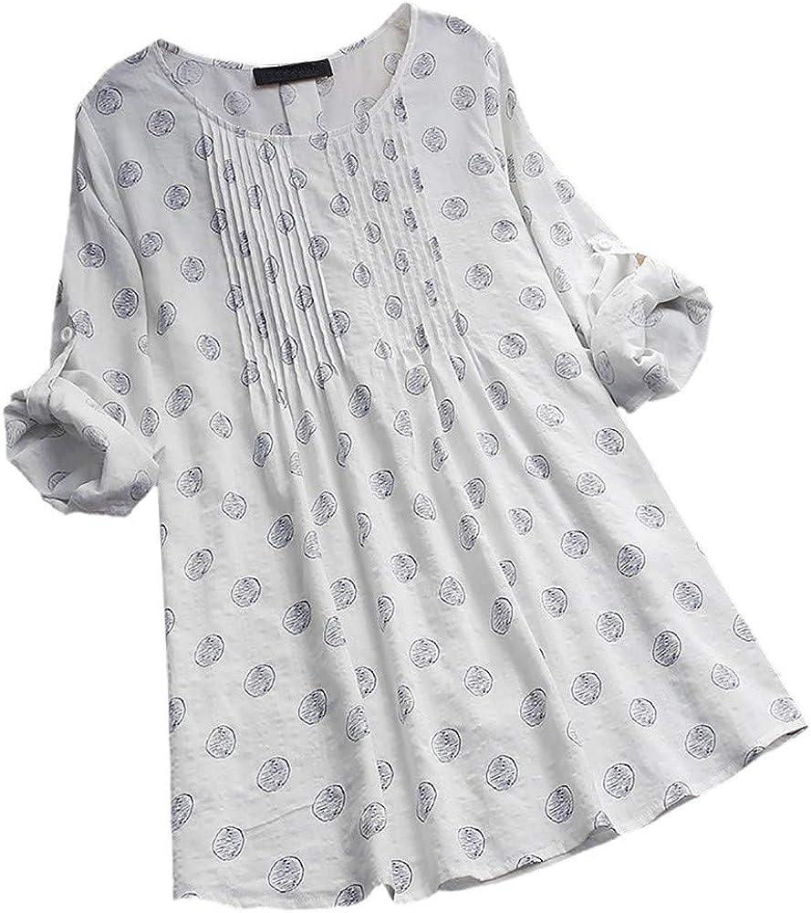 Yanlian Donna in Cotone e Lino Blusa Manica Lunga Camicia Elegante Lunghi Maglia Camicetta Casual
