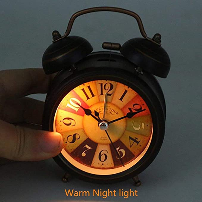 Amazon.com: Vintage Alarm Clock, Silent Desk Alarm Clocks Alarm, Strong Night Light for Bedrooms for Children Baby, Practical Gift and Decoration, ...