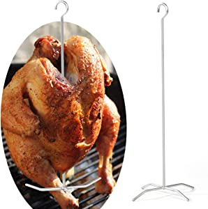 Reyhoar (Upgraded Turkey Holder, Poultry Hanger, Chicken Fryer, Grill Super Skewers for Smoke, Pit Barrel Cooker Accessories, 2 Set with 2 skewers 2 Bases, Stainless Steel, Silver