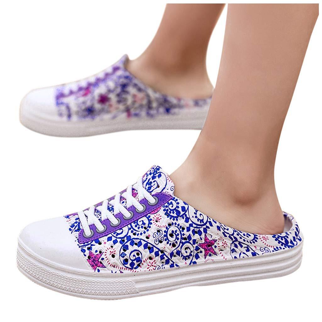 Overmal Sabots Femme Fille Chaussures de Plage Piscine Chaussons Chaussures de Outdoor 2020 Printemps et été Nouveau Impression Flats Sandales Chaussures de Pluie Hollow Out