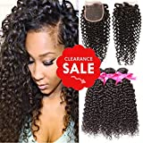 DSOAR 8A Grade Brazilian Kinky Curly 3 Bundles with Closure Unprocessed Virgin Hair with 4″4″ Lace Closure Natural Color (10 12 14+8 Closure) Review
