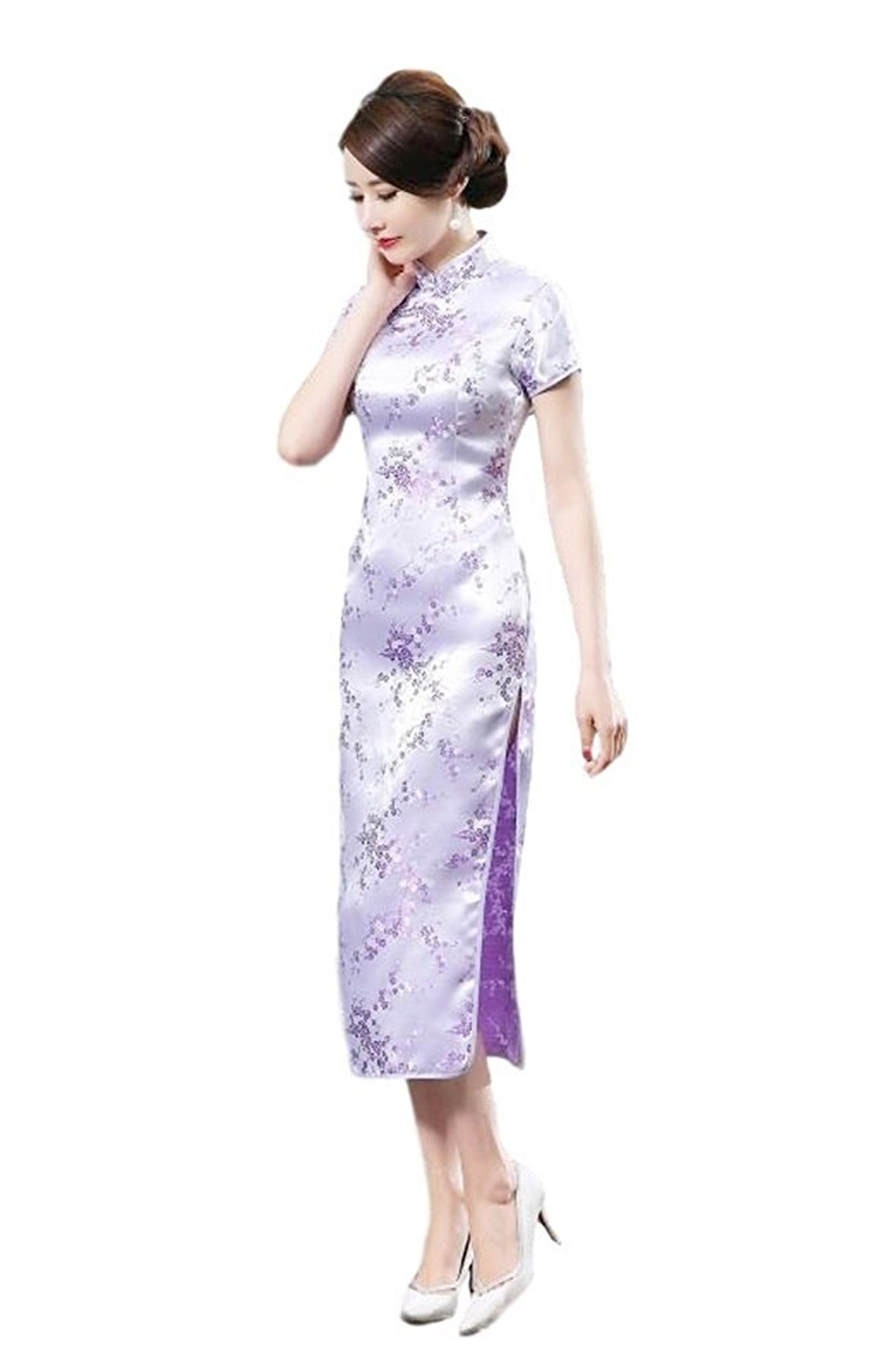 Maritchi Women's Long Chinese Wedding Dress Cheongsam Qipao Retro Long Flower Printing Elegance Beauty (6(ChineseL), Purple)