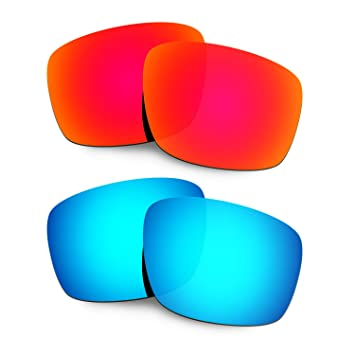 HKUCO Mens Replacement Lenses For Oakley Mainlink Sunglasses Red/Blue Polarized 9mRAkAms