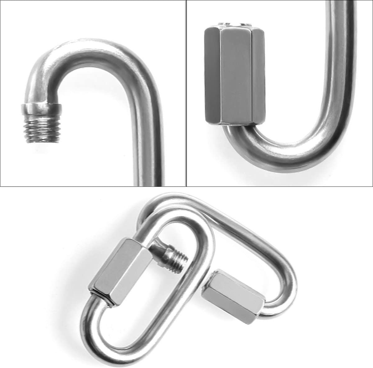 8mm Quick Link Oval Carabiner Chain Links Connector 4pcs M8 Stainless Steel Clip