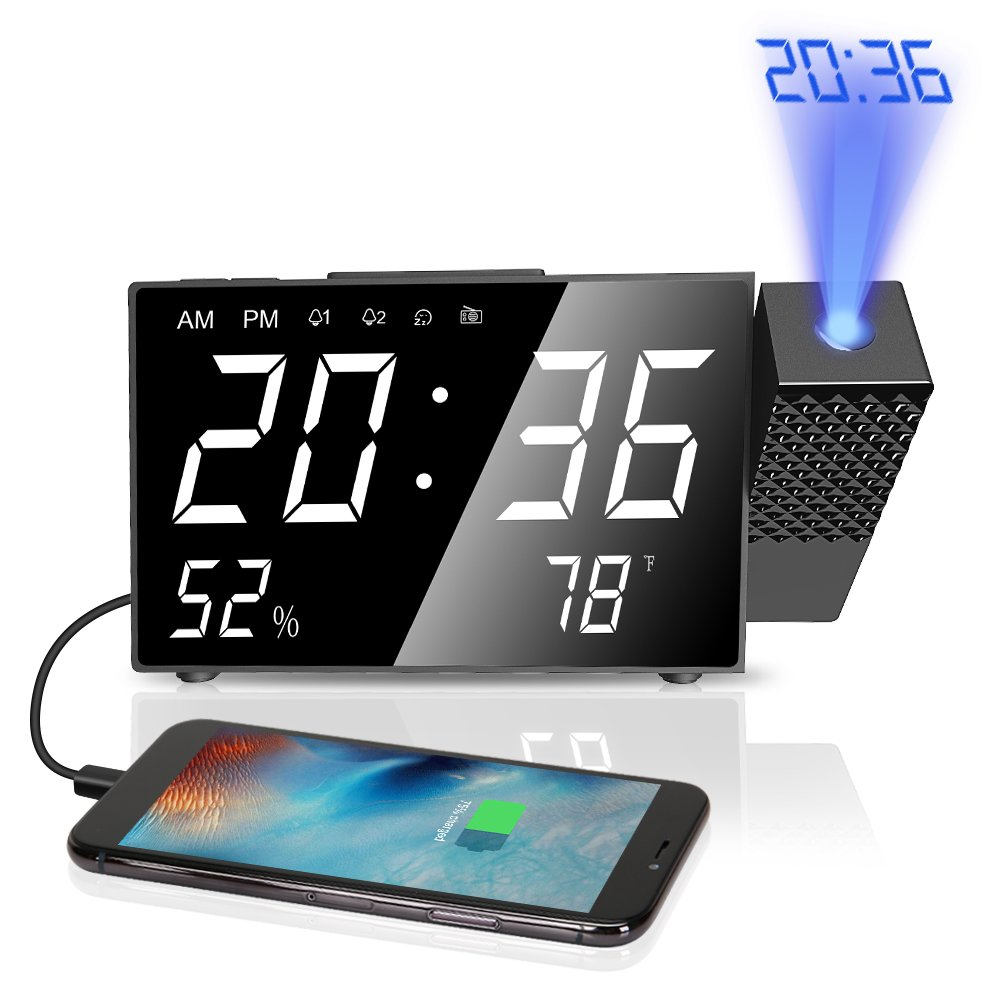 LBell Projection Alarm Clock, 6.3'' Projection Clock, FM Radio Alarm Clock, Dual Alarm with USB Charging Port, 12/24 Hours, Backup Battery for Clock Setting by LBell