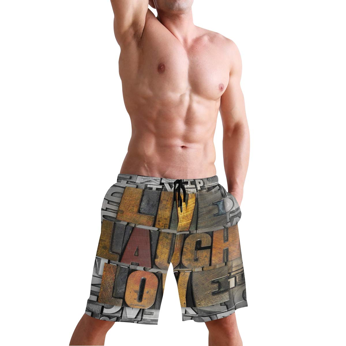 COVASA Mens Summer ShortsLive Laugh Love Saying Promoting The Sacred Values of
