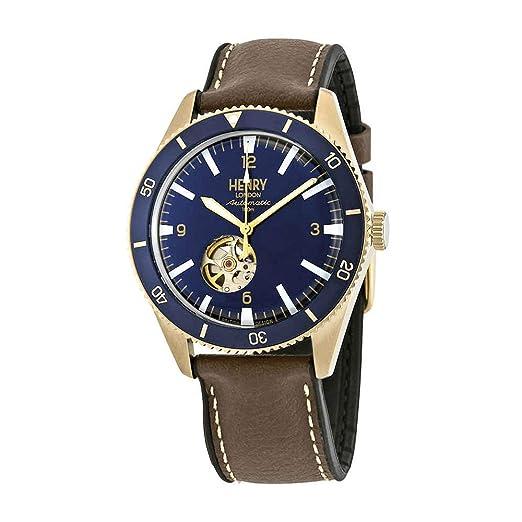 Henry London HL42-As-0334 - Reloj automático para Hombre, Correa de Silicona, Color marrón: Amazon.es: Relojes