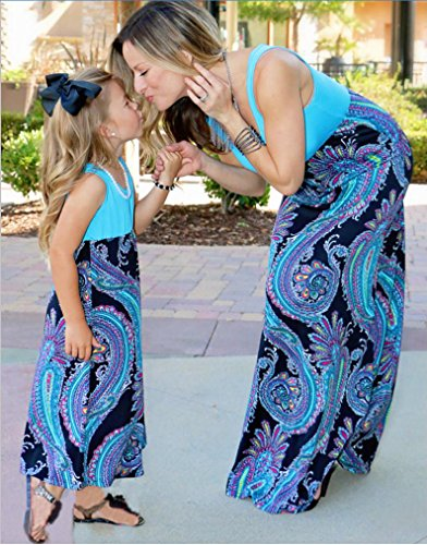 Donne Figlia Stampato Casual Rotonda Bambino Maniche Dress Blu E Abito Collo Boemia Genitore Minetom Famiglia Madre Irregolare Estate Senza Vestito xvYwESqB