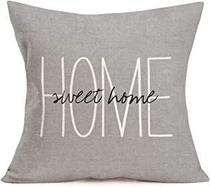 Aremazing Cotton Linen Throw Pillow Case Cushion Cover Home Office Decorative 18 X 18 Inches Inspirational Warm Quotes Home Sweet Home Lettering Pillow Sham,Gray