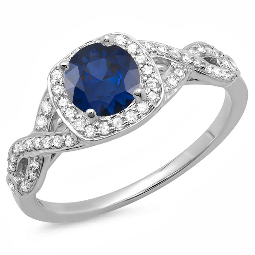 Dazzlingrock Collection 14K Round Blue Sapphire & White Diamond Swirl Split Shank Halo Engagement Ring, White Gold, Size 8.5