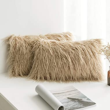 MIULEE Pack of 2 Decorative New Luxury Series Style Brown Faux Fur Throw Pillow Case Cushion Cover for Sofa Bedroom Car 12 x 20 Inch 30 x 50 cm