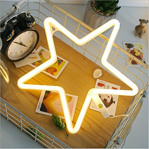 Decorative LED Neon Light, EONSMN Star Sign Shaped Night Light Battery Operated Wall Decor for Children's Room Party Christmas Wedding Decoration (Star-Warm White) by EONSMN