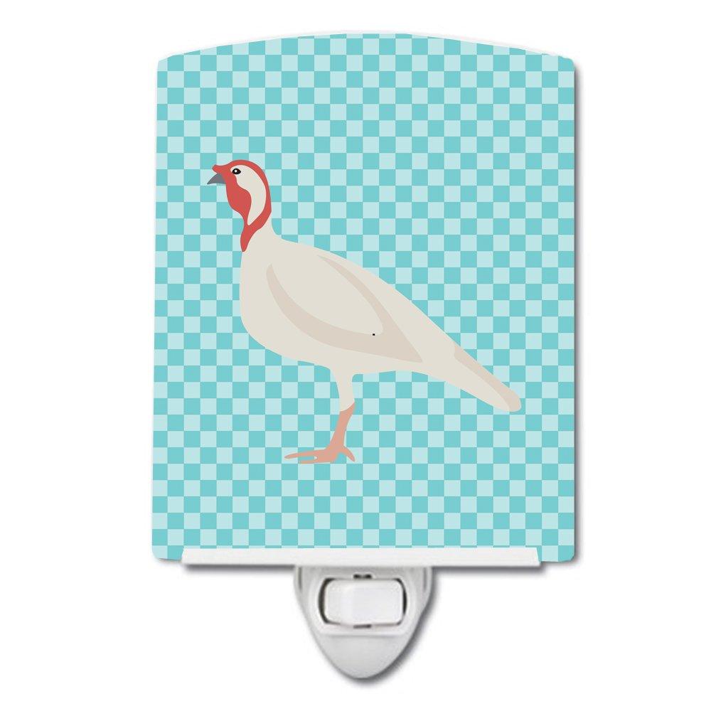 Carolines Treasures Beltsville Small White Turkey Hen Blue Check Ceramic Night Light 6x4 Multicolor