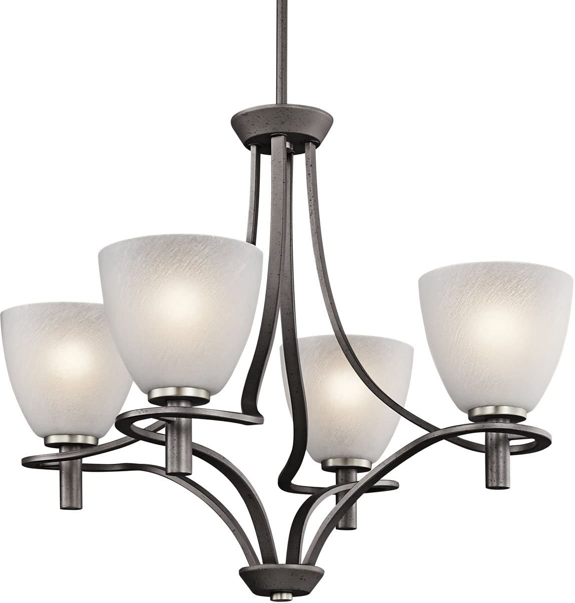 Kichler 43026AVI Neillo 4-Light Chandelier, Anvil Iron Finish with Textured Feather Glass
