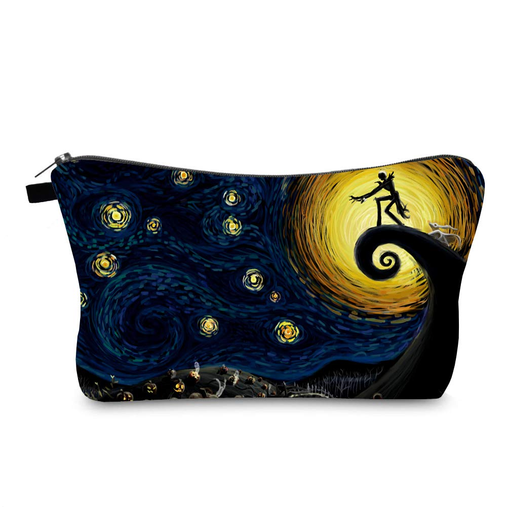 Cosmetic Bag MRSP Makeup bags for women,Small makeup pouch Travel bags for toiletries waterproof Dead The Nightmare Before Christmas (The Starry Night)
