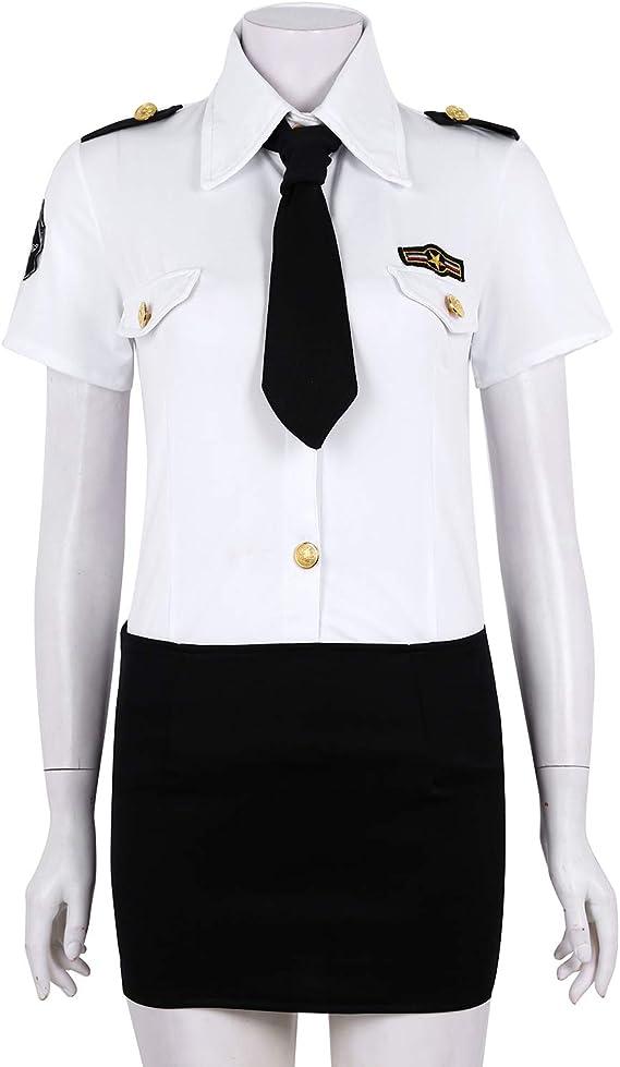 iixpin Disfraz Policía Mujer Uniforme de Policia Camisa Blanca Manga Corta Falda de Cadena Ropa de Hallowen Fiesta Lencería Erótica Sexy Uniforme Tentación: Amazon.es: Ropa y accesorios