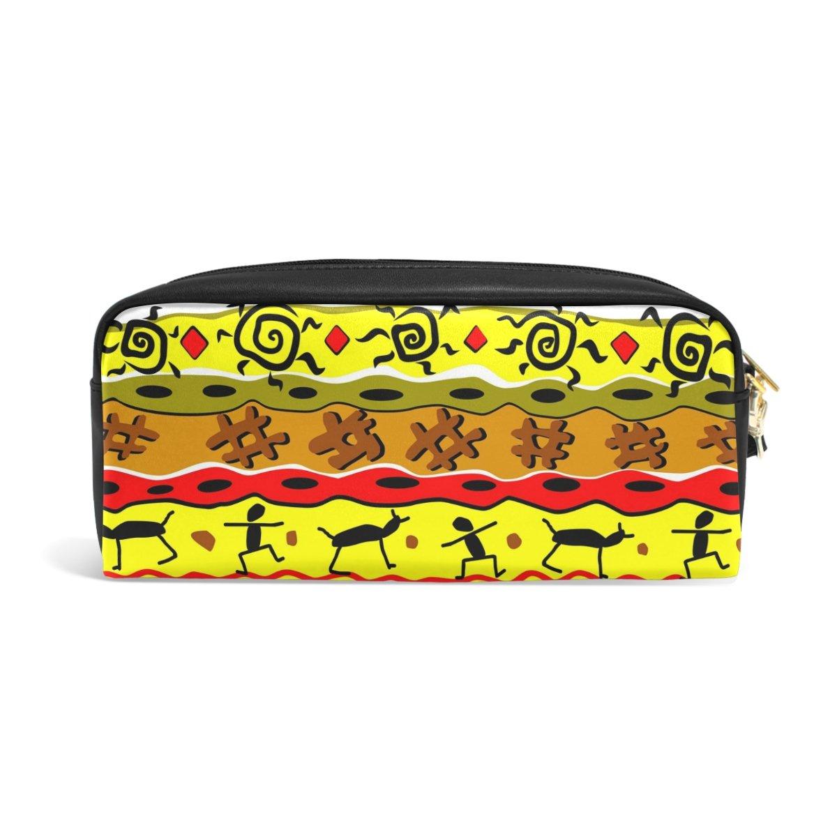 zzkko patrón Tribal funda de piel cremallera lápiz pluma bolsa estacionaria bolso de la bolsa pluma de cosméticos bolsa bolso de mano 7cf66b