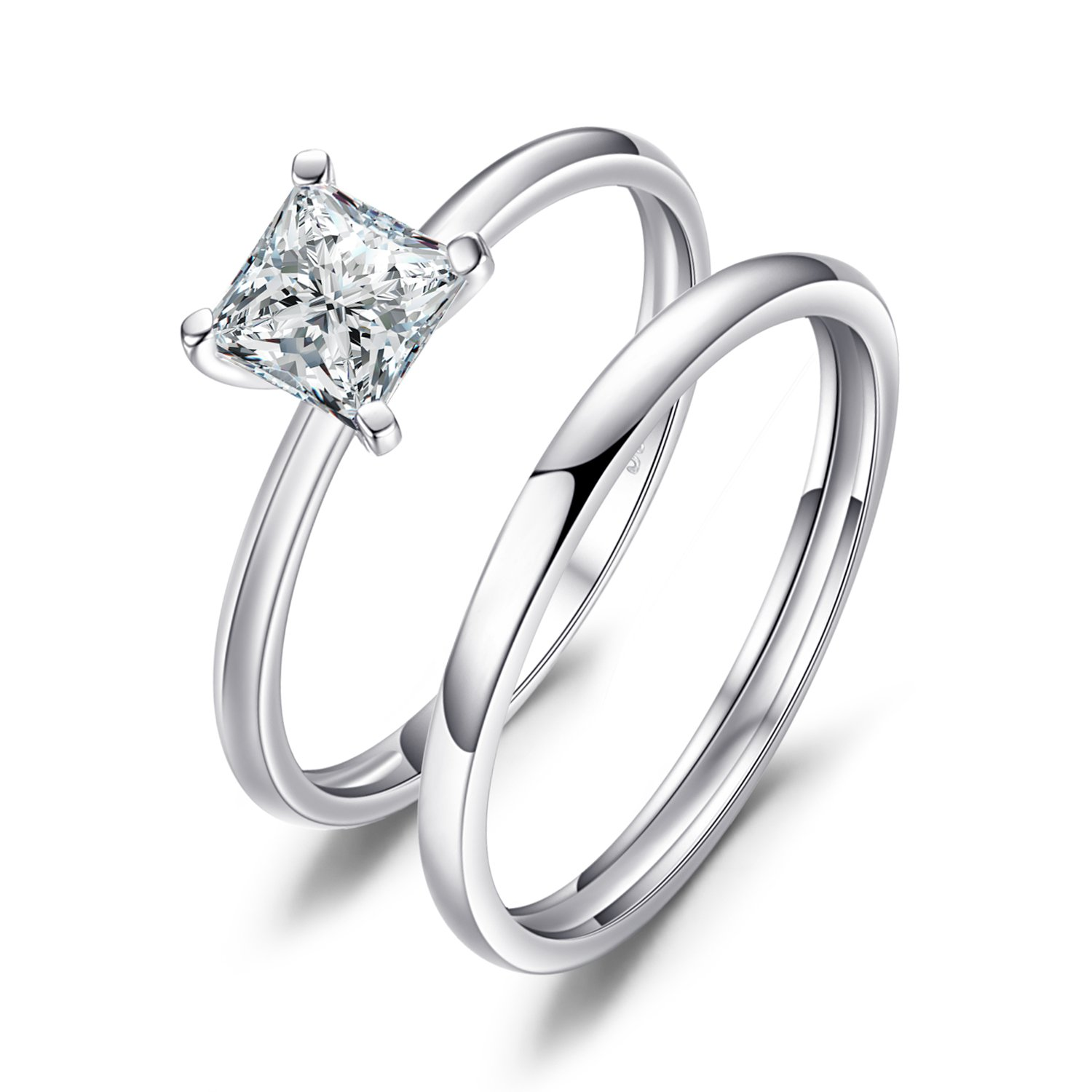JewelryPalace Wedding Rings Wedding Bands Solitaire Engagement Rings For Women Anniversary Promise Ring Bridal Sets Princess Cubic Zirconia 925 Sterling Silver Ring Sets 61nt7khUU8L