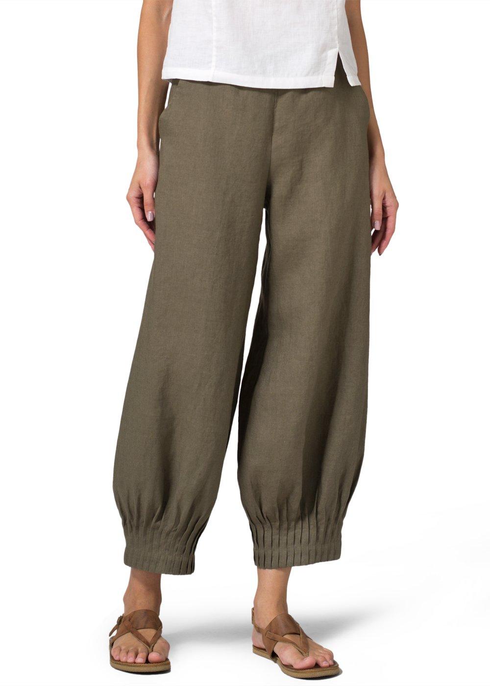 Vivid Linen Pleated Cuff Crop Pants-XL-Khaki Green
