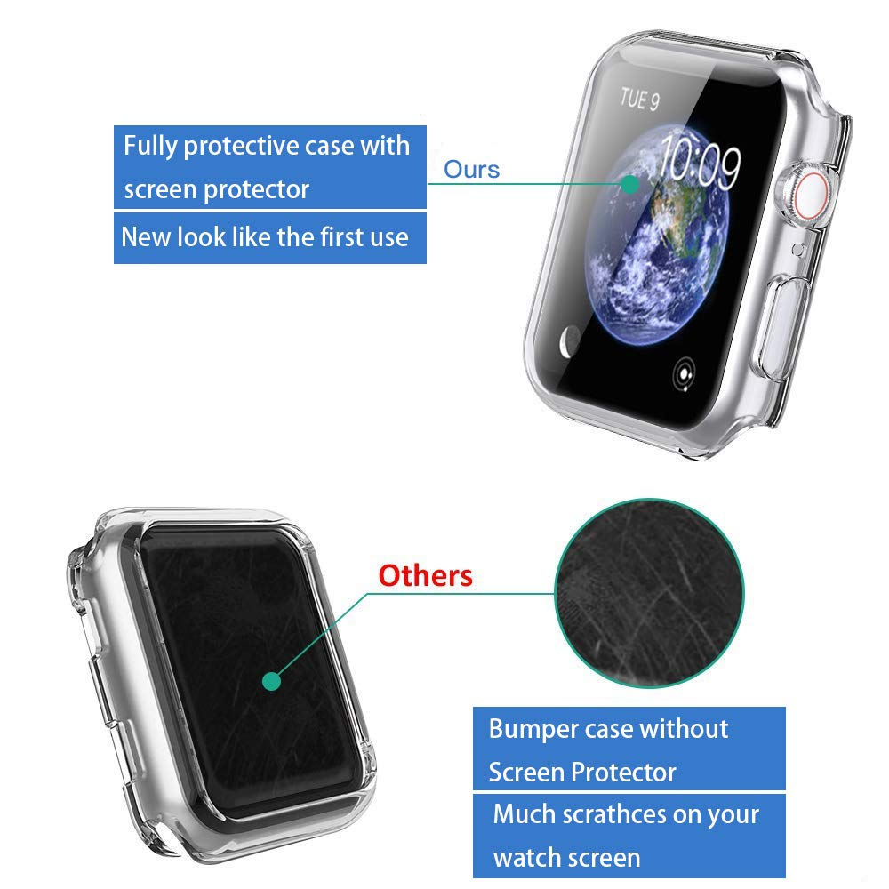 【2Pack】 Wistore Compatible with Apple Watch 4 Case 44mm, Apple Watch Series 4 Screen Protector, 2018 New iWatch Overall Protective Case TPU HD Clear Ultra-Thin Cover for Apple Watch Series 4 (44mm) by Wistore (Image #3)