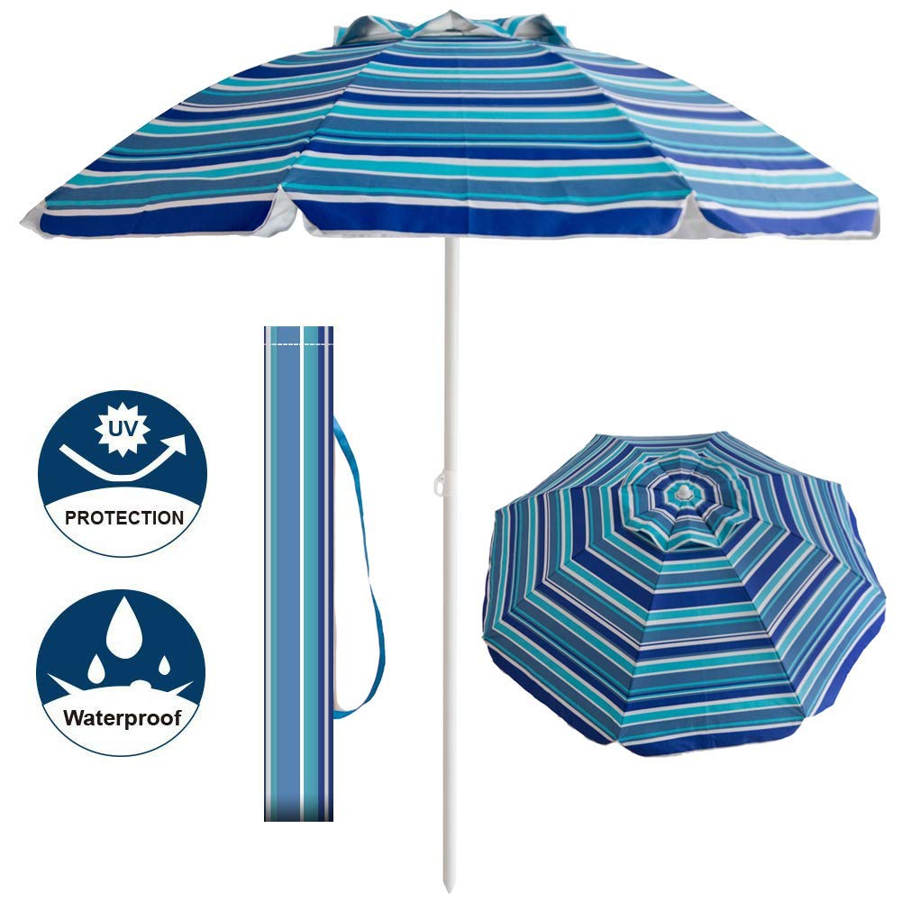Aclumsy 7' Portable Beach Umbrella with Tilt and Silver Coating Inside, Integrated Sand Anchor and Air Vent Parasol Sun Shelter, Carry Bag Included (Blue/White Stripe) by Aclumsy