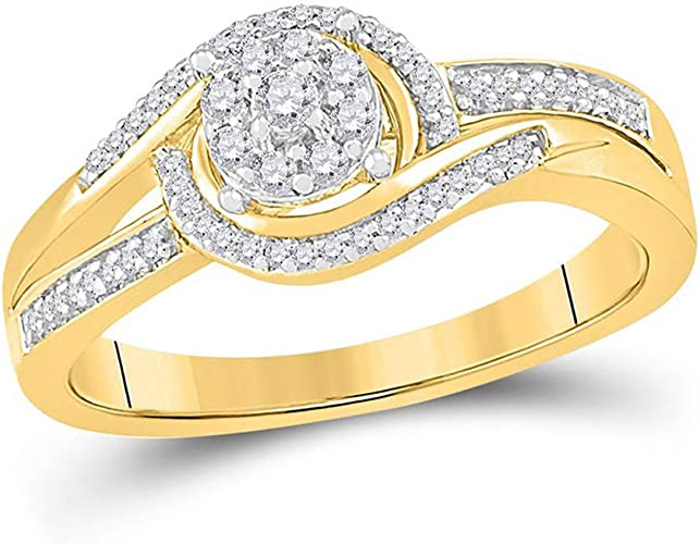 10kt Yellow Gold Womens Round Diamond Solitaire Bridal Wedding Engagement Ring 1//5 Cttw