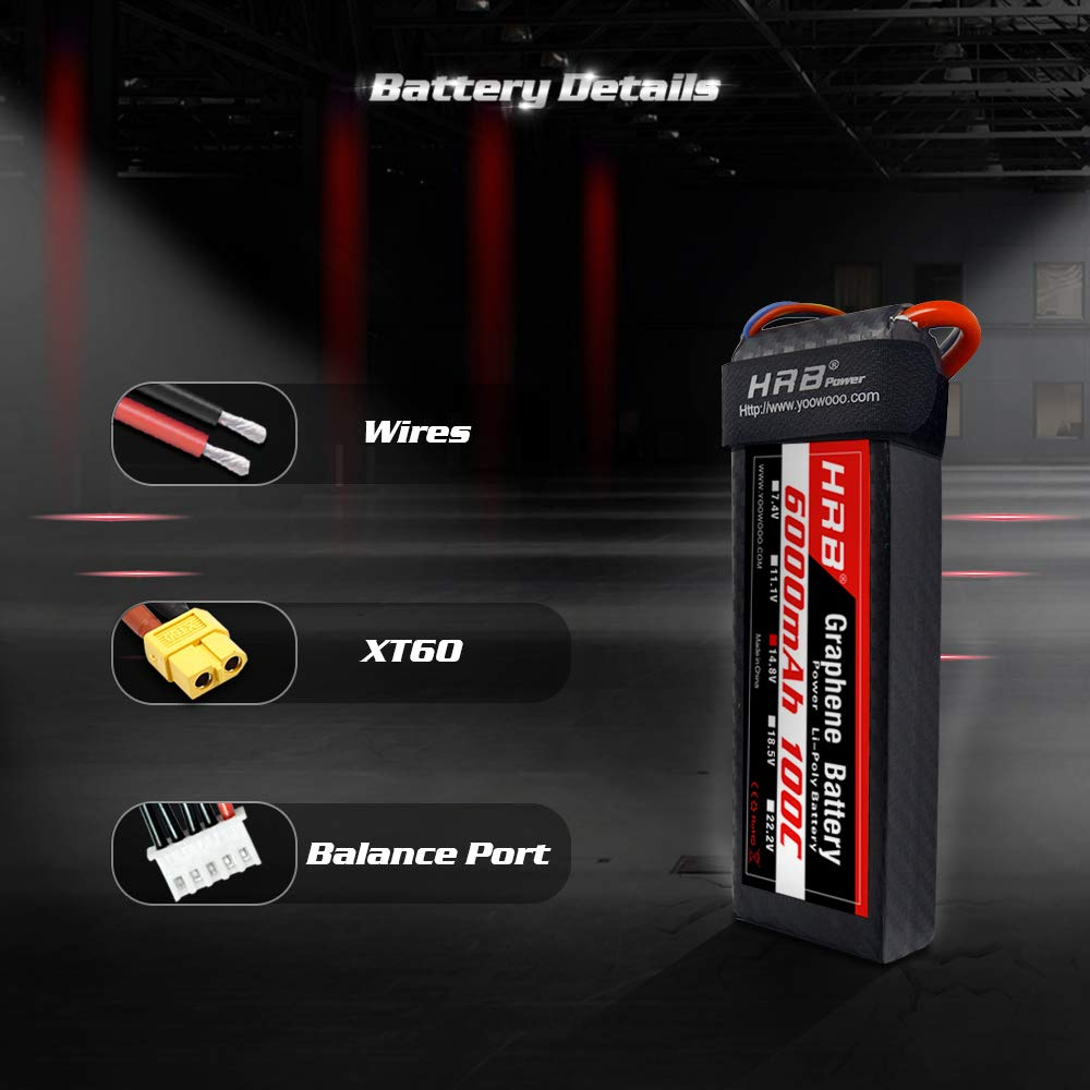 HRB 2S Graphene Battery 7.4V 6500mAh 65C Graphene Lipo Battery with Deans T Plug for RC Helicopters Quadcopter Airplane Car Truck Boat Drone and FPV