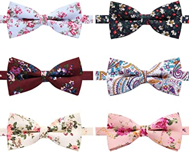 Kids Page Boy Toddler  Floral Flowers Pattern 100/% Cotton Pretied Bow Tie Bowtie