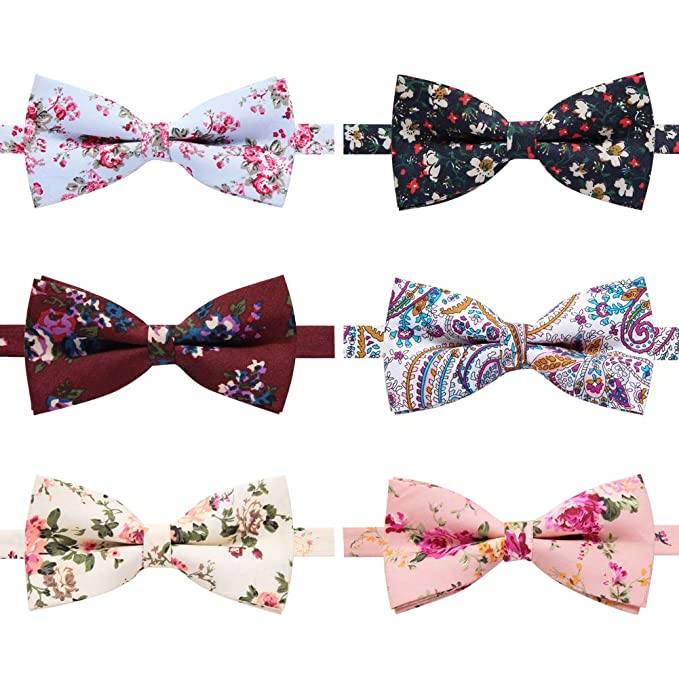 9d8c09f7f247 6 Packs Men's Cotton Bowties Floral Printed Adjustable Pre-tied Neck Bow Tie  for Men