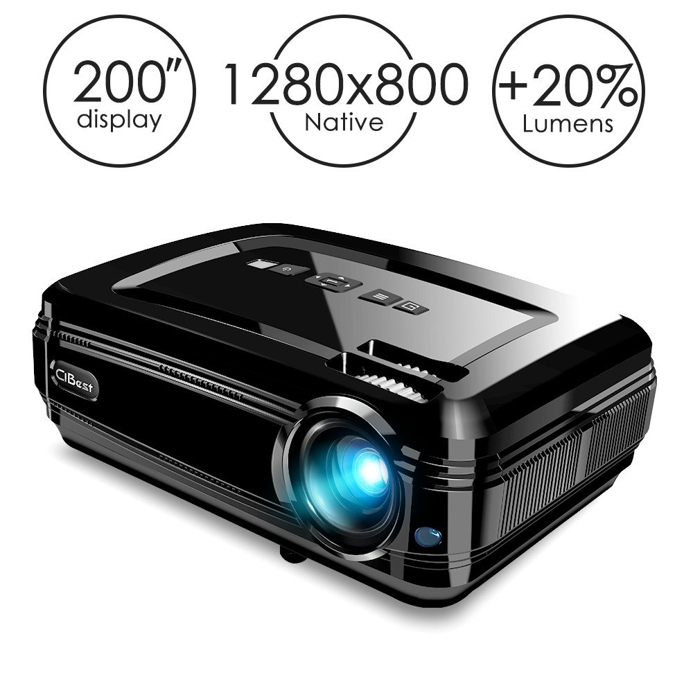 "Projector, CiBest BL58 LED Video Projector 1080P HD with +20% Lumens High Brightness for 200"" Home Theater Support HDMI/USB/VGA/AV/SD to Laptop iPhone/iPad & Smartphone for Home Entertainment & Party"