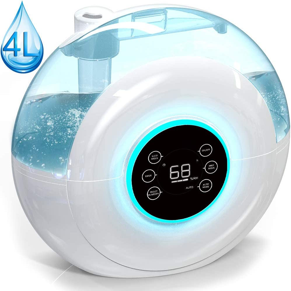 Cool Mist Ultrasonic Digital Humidifier with 4 L 1.05 Gallon Large Capacity, Timer, Quiet Operation, Filter-Free, 3 Mist Modes, Humidity Sensor, Sleep and Auto Mode, for Bedroom Babyroom Home