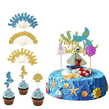 Decoración para tarta de sirena Halofuno con adornos para ...