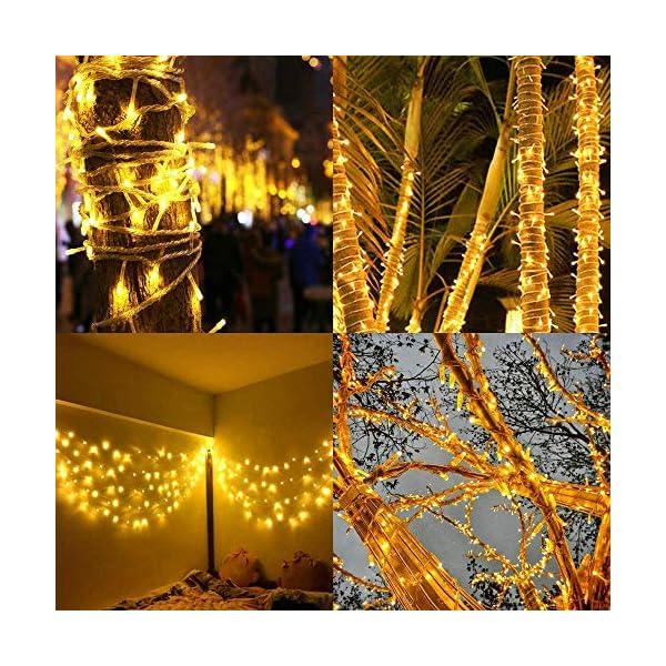 Luci Natale Esterno, GlobaLink Catena Luminosa 25M 1000 LEDs Stringa Luci Led Impermeabili, 8 Modalità Luce, Funzione Memoria per Uso Interno Esterno Natale Matrimonio Casa Giardino Feste-Bianca Calda 6 spesavip