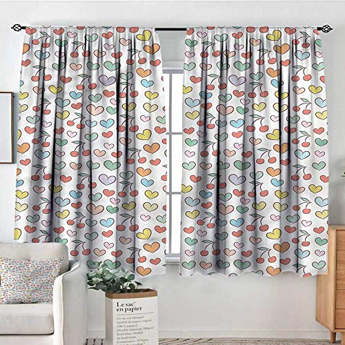 - Sanring Hearts,Bocking Ight Rod Curtains Colorful Doodle Cherries 42
