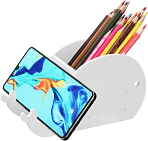 SKONHED Creative Elephant Pencil Holder Multifunctional Office Accessories Desk Decoration Mobile Phone Holder Desk Organizer Office School Supplies (White Whale)