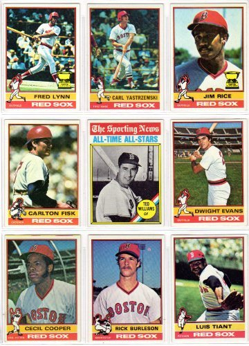 Boston Red Sox 1976 Topps Baseball Team Set with year-end traded cards (27) Cards) **Rick Burleson, Jim Burton, Bernie Carbo, Reggie Cleveland, Cecil Cooper, Denny Doyle, Dick Drago, Dwight Evans, Carlton Fisk, Doug Griffin, Tom House, Fergie Jenkins, Deron Johnson, Bill Lee, Fred Lynn, Rick Miller, Bob Montgomery, Rogelio Moret, Rico Petrocelli, Dick Pole, Jim Rice, Luis Tiant, Ted Williams All Time All Stars, Jim Willoughby, Rick Wise, Carl Yastrzemsk**