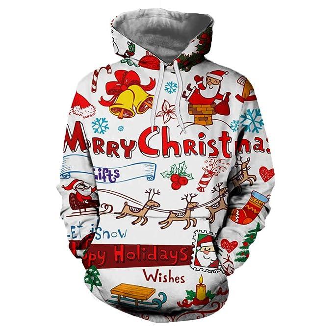 f6fb998eef6b7 AIMEE7 Sweat Homme Grande Taille Automne Hiver Sweat à Capuche Couple  Oversize Sweatshirt Noël Unisexe Tops