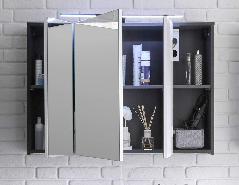 Lichtschalter LED-Beleuchtung Home4You Badezimmerschrank Spiegelschrank Grau T/üren Steckdose