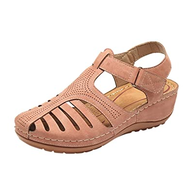 HIRIRI Women's Ankle Hollow Round Toe Wedged Sandals Soft Sole Shoes Ladies Girls Comfortable Flat: Clothing