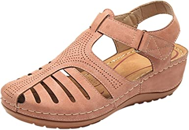 Amazon Com Jjliker Women S Closed Toe Cutout Sandals Flats Soft Comfort Casual Low Wedge Shoes Walking Driving Fashion Wild Outdoor Shoes