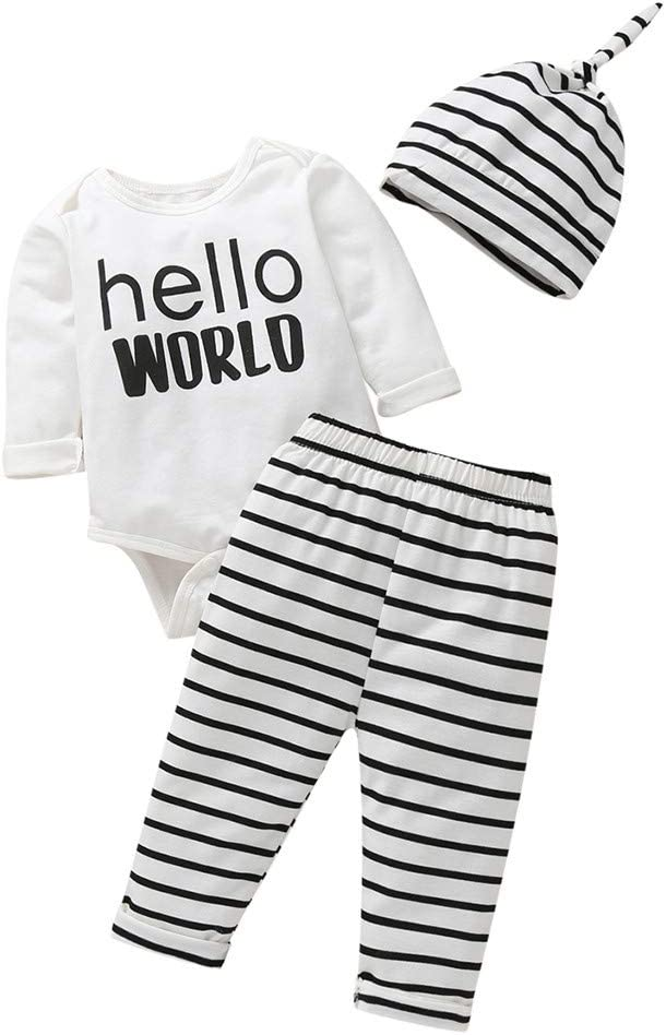 UK Newborn Infant Baby Boys Girls Snuggle This Muggle Tops Pants Hat Outfit Set