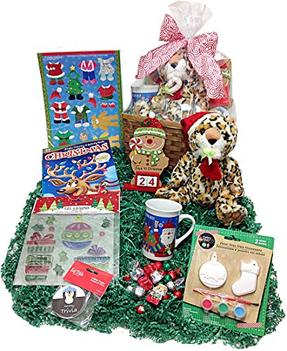 Children's Christmas Countdown Holiday Gift Basket Box - Advent Calendar, Plush Leopard, Mug, Window Clings, Build A Bear Magnets, Coloring Book, Trivia & Chocolates (L)