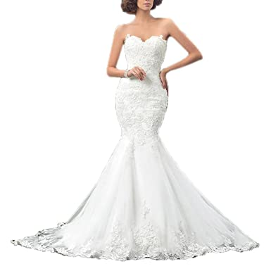 c8e954918ee Rudina Charming Lace Mermaid Corset Back Wedding Dress Sweetheart Strapless  Trumpet Floor Length Vintage Bridal Gown
