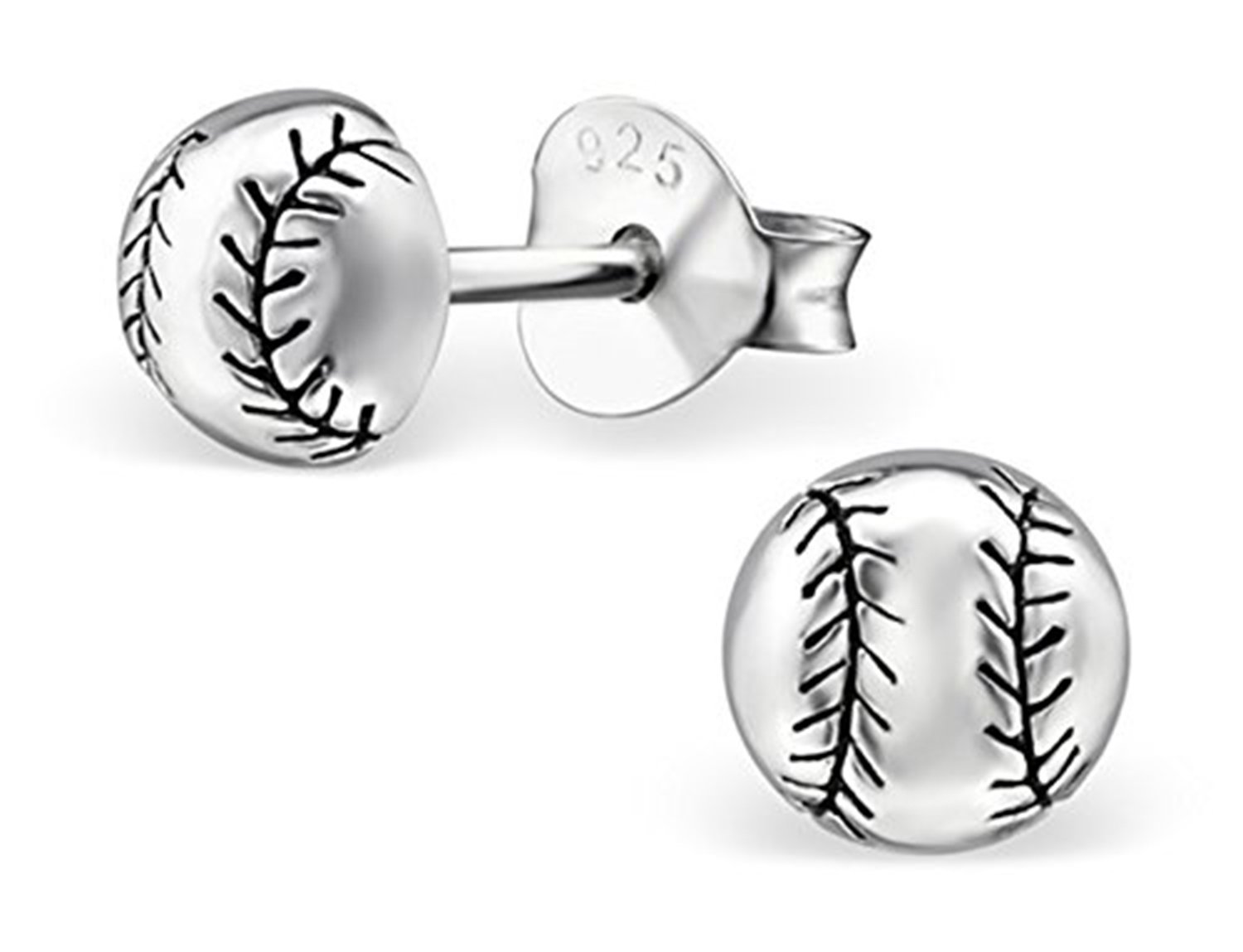 Best Wing Jewelry .925 Sterling Silver ''Tiny Baseball'' Children's Stud Earrings