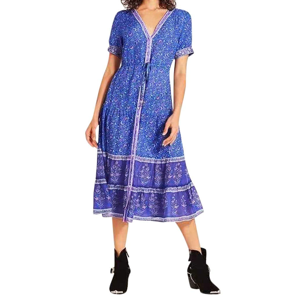 SADUORHAPPY Women Holiday Button Down Dress Short Sleeve Print Bohemian Long Maxi Evening Party Beach Dress by SADUORHAPPY Dress
