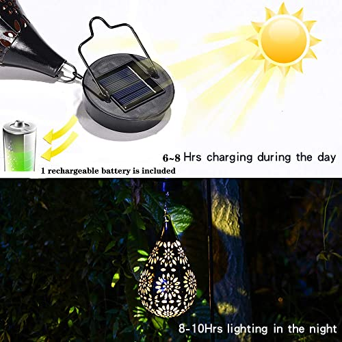 AicooFest Hanging Solar Lights Garden Lantern Outdoor Pathway Solar Light Waterproof Sunflower LED Decorative Light with Shepherd Hook