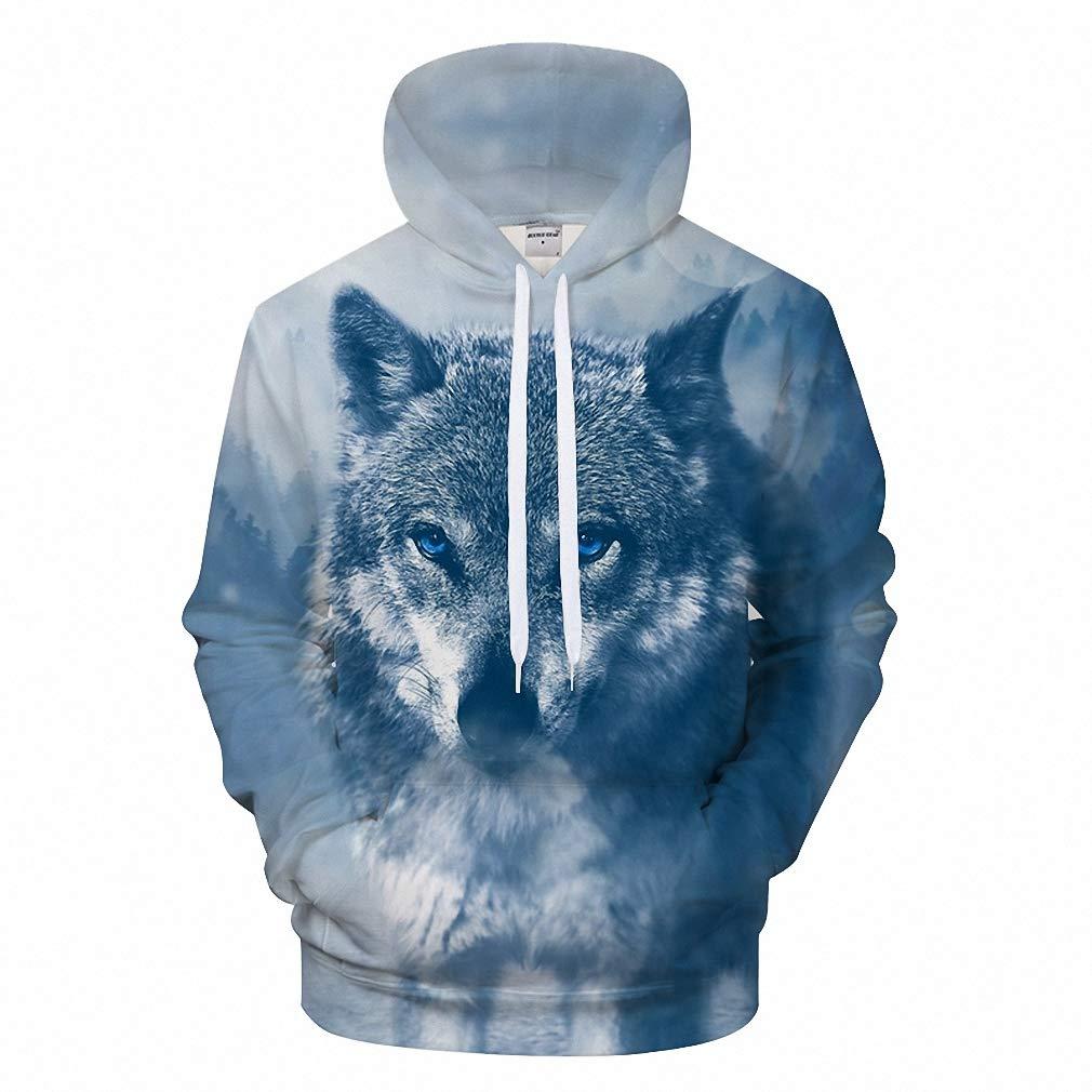 3D Men Wolf Hoodies Brand Sweatshirt Pullover Hoodie Animal Spring Tracksuit