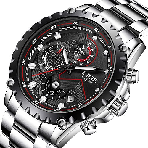 - Mens Watches,LIGE Stainless Steel Chronograph Sports Analog Quartz Watch Gents Waterproof Black Dial Date Display Business Casual Luxury Dress Wrist Watch Silver Black