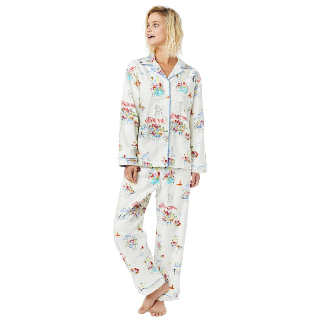 The Cat s Pajamas Flower Cart White Flannel Pajama at Amazon Women s  Clothing store  67aaf1762