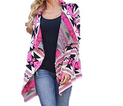 Womens Hot Pinkgray Aztectribal Printed Long Sleeve Cardigan
